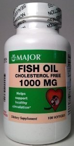 Major fish oil cholesterol free 1000mg 100 soft gels for Fish oil cholesterol