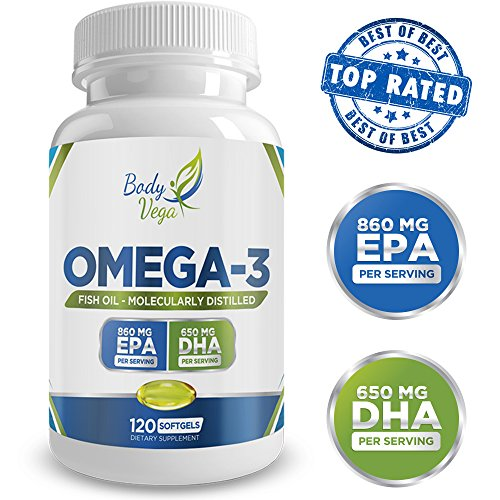 Omega 3 fish oil 860mg epa 650mg dha 120 capsules top for Best quality fish oil